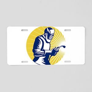 welder welding worker Aluminum License Plate