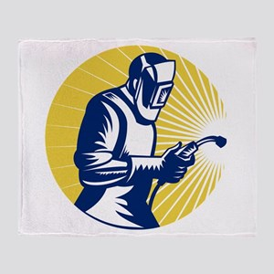 welder welding worker Throw Blanket