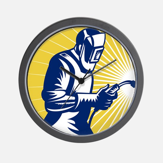 welder welding worker Wall Clock
