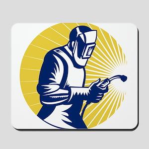 welder welding worker Mousepad
