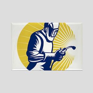 welder welding worker Rectangle Magnet