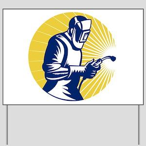welder welding worker Yard Sign