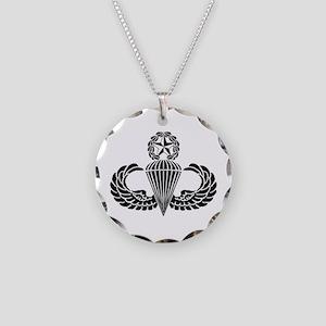 Master Parachutist Necklace Circle Charm