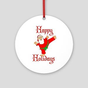 Karate Kicking Santa Ornament (Round)