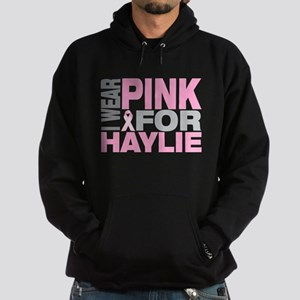 I wear pink for Haylie Hoodie (dark)
