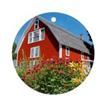 Kinhaven Summer Barn Ornament with Red Ribbon