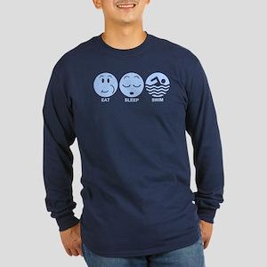 Eat Sleep Swim Long Sleeve Dark T-Shirt