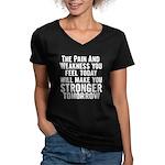 Stronger Tomorrow Women's V-Neck Dark T-Shirt