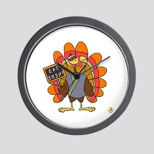 Turkey Day Eat Sushi Wall Clock