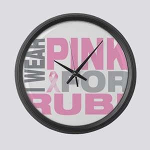 I wear pink for Rubi Large Wall Clock