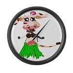 Luna, the hula-hula moo-cow Large Wall Clock