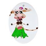 Luna, the hula-hula moo-cow Ornament (Oval)