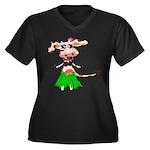 Luna, the hula-hula moo-cow Women's Plus Size V-Ne