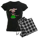 Luna, the hula-hula moo-cow Women's Dark Pajamas