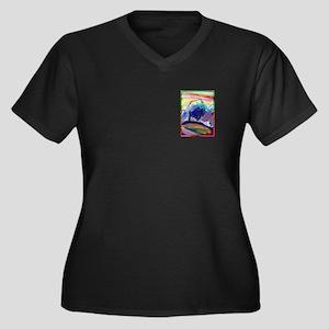 Buffalo, colorful, art, Women's Plus Size V-Neck D