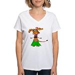 Sola the hula-hula moo-cow Women's V-Neck T-Shirt