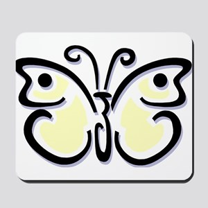 White Butterfly1 Mousepad