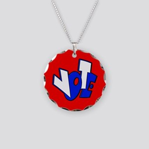 Cartoon VOTE Republican Red Necklace Circle Charm