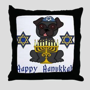 Hanukkah Pug Tees and Gifts Throw Pillow