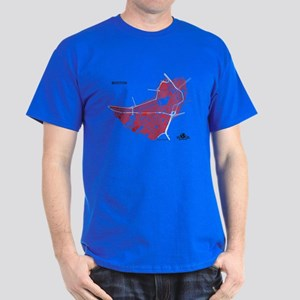 Boston Men's T-Shirt Red on Royal Blue