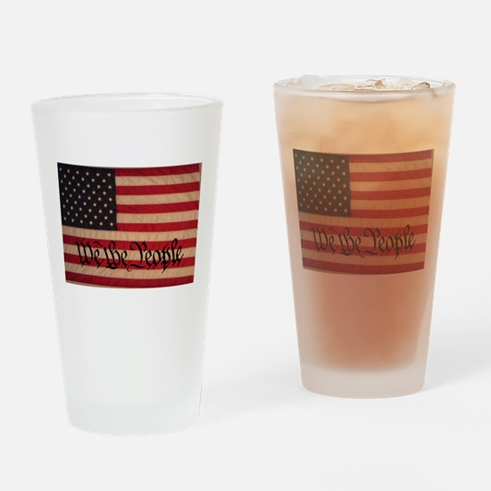 WE THE PEOPLE WITH FLAG OF FR Drinking Glass