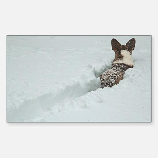 Snow Corgi Rectangle Decal