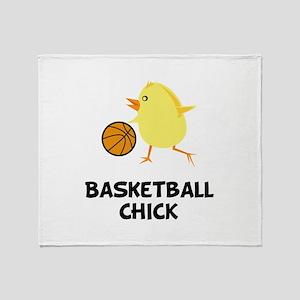 Basketball Chick Throw Blanket