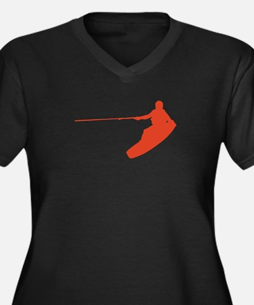 Red Wakeboard Nose Grab Women's Plus Size V-Neck D