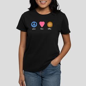 Peace Love Latkes Women's Dark T-Shirt
