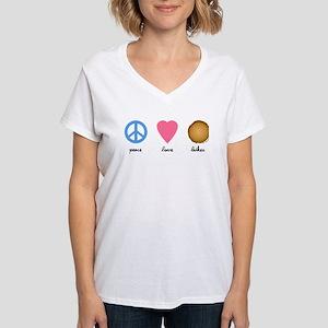 Peace Love Latkes Women's V-Neck T-Shirt