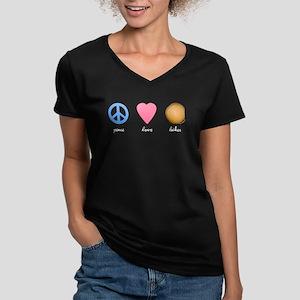 Peace Love Latkes Women's V-Neck Dark T-Shirt