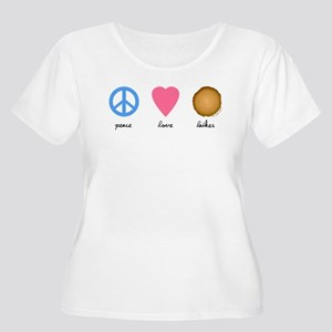 Peace Love Latkes Women's Plus Size Scoop Neck T-S