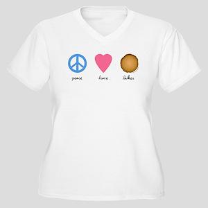 Peace Love Latkes Women's Plus Size V-Neck T-Shirt