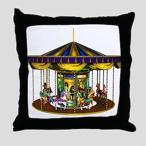 The Golden Carousel Throw Pillow