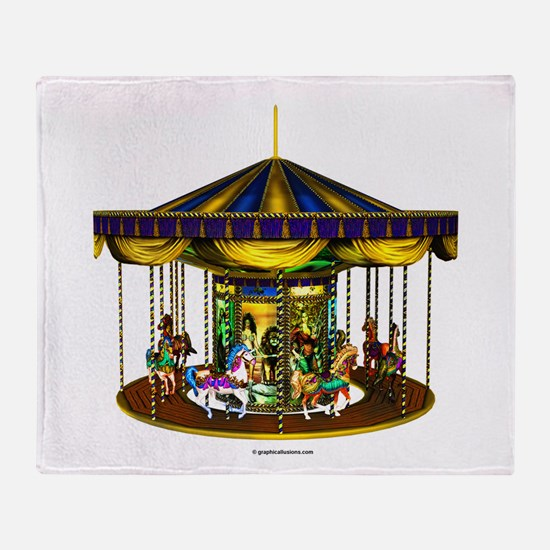 The Golden Carousel Throw Blanket