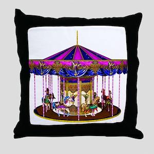 The Pink Carousel Throw Pillow
