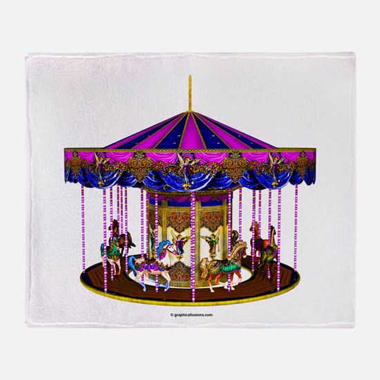 The Pink Carousel Throw Blanket