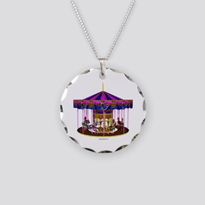 The Pink Carousel Necklace Circle Charm