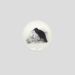 Black Raven Bird Mini Button