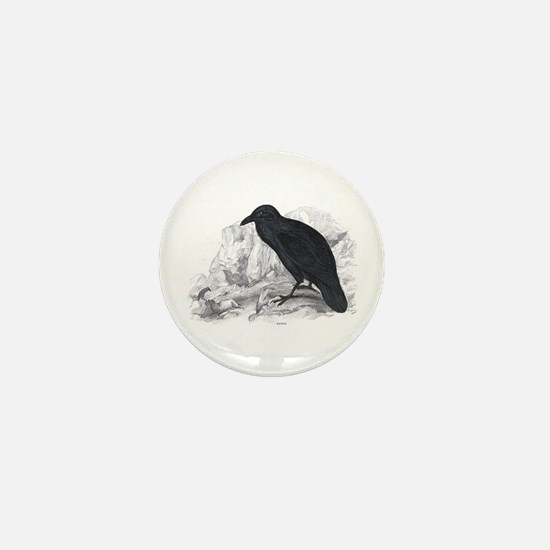 Black Raven Bird Mini Button