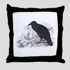 Black Raven Bird Throw Pillow