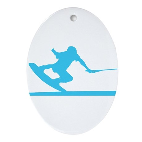 Blue Wakeboard Nose Press Ornament (Oval)
