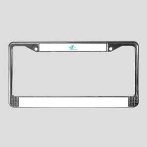 Blue Wakeboard Nose Press License Plate Frame