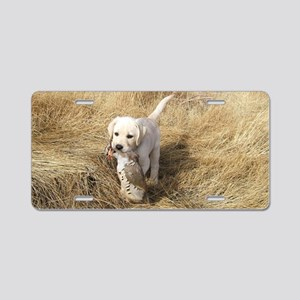 LAB PUPPYS FIRST HUNT Aluminum License Plate