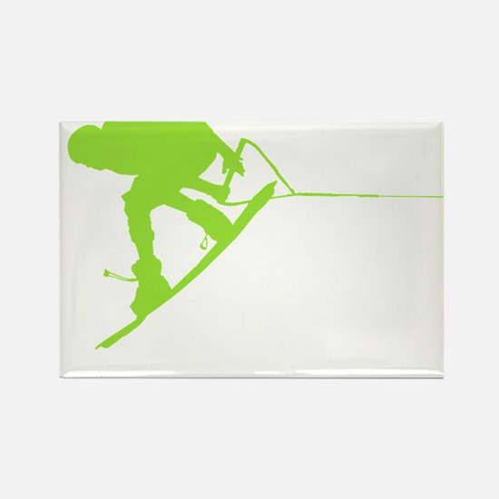 Green Wakeboard Back Spin Rectangle Magnet