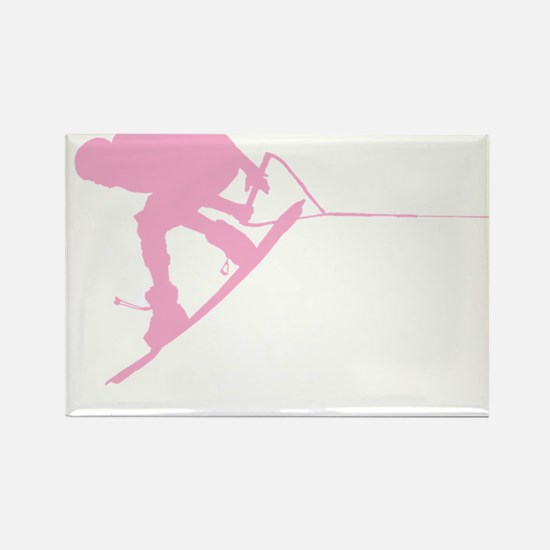 Pink Wakeboard Back Spin Rectangle Magnet