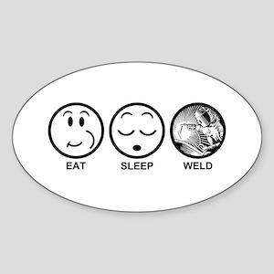Eat Sleep Weld Sticker (Oval)