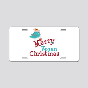 Merry Vegan Christmas Aluminum License Plate