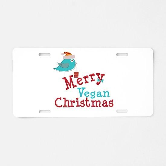 Merry Vegan Christmas Aluminum License Plate