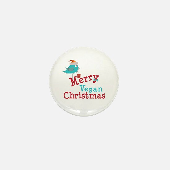 Merry Vegan Christmas Mini Button